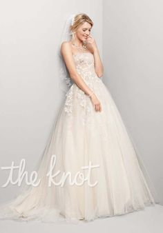Oleg Cassini for David's Bridal Gown features beading.