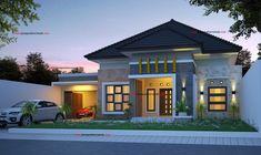Modern Bungalow House Plans, Bungalow Style House, Minimalist House Design, Minimalist Home, House Roof Design, Home Design Plans, Home Fashion, House Front, Architecture Design