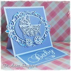 Baby boy easel luxury 3D handmade card. DIES: Marianne Design Creatables LR0217, Spellbinders Nestabilities Fleur De Elegance, Tattered Lace Pram D093