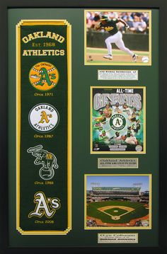 Oakland Athletics Heritage Wall Art. Great for a man cave, basement or office! Great gift for the man in your life.