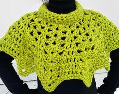 Crochet Capelet Poncho Lacy PonchoCrochet Cowl by PaulitaCrafts