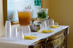 Beverage Station of Arnold Palmer's and Mint Water - Belmont Country Club Wedding  |  Photo Credit:  Kaptures by Kristi