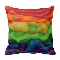 Bright Rainbow Colours Funky Hippie Style Throw Pillow