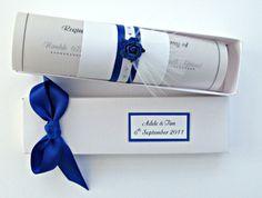 Royal Blue Wedding Invitation Scroll