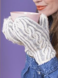 Chunky & soft brioche cable mittens knitted with Novita Natura Mittens Pattern, Knit Mittens, Yarn For Sale, Swedish Design, Wrist Warmers, Alpacas, Needles Sizes, One Color, Handicraft