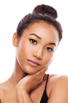 Celebrity Spec Shoot with Actress Sydney Park  beauty, natural, clean, cosmetics, makeup, glowing, dewy, ardell lashes, yellow, pop, retro
