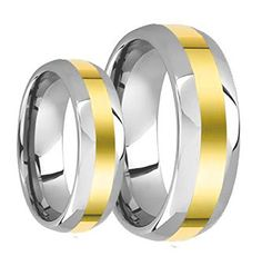 His & Her's 8MM/6MM Two Tone Gold Center and Domed Shape Tungsten Carbide Wedding Band Ring Set. Please use drop down menu to choose your desired sizes. Genuine Tungsten Carbide (Cobalt Free) Wedding Band Ring. Hypoallergenic - Comfort Fit. This ring can be worn as a Wedding Band or Promise Ring by men or women. Beware of Imitated Replicas - 30 Day Money Back Gurantee!.