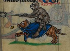 Monkey riding a boar and holding a stick skewering a chicken, Stowe 17, 14th c., fol. 82r. British Library.