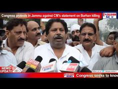 Congress protests in Jammu against CM's statement on Burhan killing