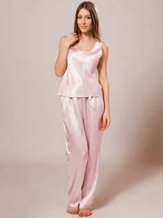 100% pure silk pajamas make dreams that much sweeter. Live luxury in these richly designed pure silk pajamas with a scoop neckline and an elastic waist full-length pant.
