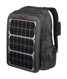 Solar Laptop Charger Backpack, will also recharge phones, IPods, etc.  Would be a great emergency bag.