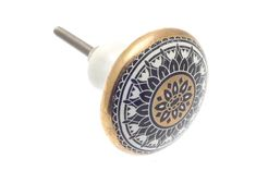 Disc Shaped Ceramic Cupboard Knob Moroccan Mosaic in Gold, White and Black design - Chrome Fittings Easy to Fit. Dresser Drawer Pulls, Cabinet And Drawer Knobs, Dresser Knobs, Knobs And Handles, Knobs And Pulls, Ceramic Door Knobs, Unique Doors, Pink Beige, Antique Copper