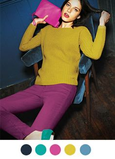 Color Collective // Boden, Fall 2013 featuring teal, fuchsia, and chartreuse