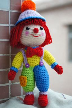 Knitted Dolls, Crochet Dolls, Crochet Baby, Weaving Patterns, Knitting Patterns, Crochet Patterns, Crochet Horse, Cute Clown, 3 D