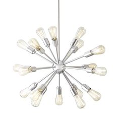 Style Selections Grayford 35.43-in 18-Light Brushed Nickel Tiered Chandelier