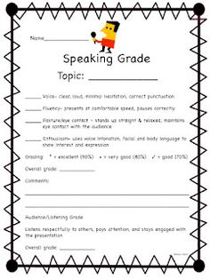 This is a checklist for student speaking and listening in