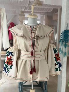 Romanian traditional jacket with vintage yrs old) embroidery . The item is new and unique, only the embroidery is vintage, size S-L, made with lot of love and care :) Victorian, Embroidery, Trending Outfits, Unique Jewelry, Handmade Gifts, Jackets, Clothes, Vintage, Etsy