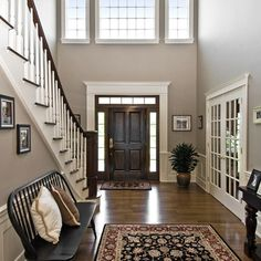Double Height Foyer Dark Paint Design Ideas, Pictures, Remodel and Decor