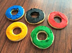 Olympics rings sugar cookies  - pinned by @PediaStaff – Please Visit ht.ly/63sNtfor all our pediatric therapy pins
