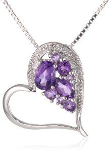 "Sterling Silver Shades of Amethyst and Diamond-Accented Heart Pendant Necklace, 18"" available at joyfulcrown.com"