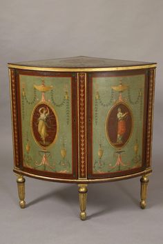 Fine painted and gilded bow fronted corner cabinet with Angelica Kauffman style decorations prob. by Henry Clay, 1790