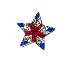 Crystal & Enamel Star Pin - Elegant Star with Red and Blue Enamel and Diamond-like Swarovski Crystals.  Price: $20.00 http://www.starsandstripesproducts.com/crystal-enamel-star-pin/ #patriotic star pin #patriotic star brooch #star pin #star brooch
