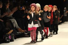Models walk the runway during the kids fashion show on the fourth day of the Charles Vogele Fashion Days on November 2010 in Zurich, Switzerland. Kids Fashion Show, Fashion Design For Kids, Fashion 2018, Fashion Days, Runway Fashion Looks, Kids Shoes Online, Fashion Tights, Style Guides, Kids Outfits