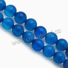 Gemstone Beads, Blue agate, Smooth round, Approx 12mm, Hole: Approx 1.2mm, 33pcs per strand, Sold by strands
