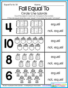 """This fall equal to worksheet gives kid a chance to practice their vocabulary words. They count and circle whether the numbers match the number of objects. I would say that my Fall Counting Worksheets for Kindergarten are """"equal to"""" a five star rating so you don't want to miss out. Please take a minute to check it out! :)"""