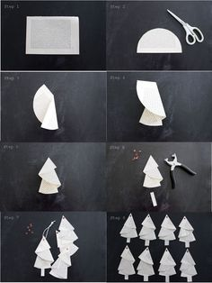 Anleitung für die Bäumchen aus alten Buchseiten… Tutorial… – HANDMADE Kultur And I fold and fold …. Instructions for the trees from old book pages … Tutorial … – HANDMADE culture … Noel Christmas, Christmas Crafts For Kids, Simple Christmas, Holiday Crafts, Origami Christmas Tree, Xmas Trees, Paper Christmas Ornaments, Navidad Simple, Navidad Diy