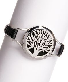 Look what I found on #zulily! Silvertone & Faux Leather Tree Perfume or Oil Diffuser Locket Bracelet by Bubbly Bows #zulilyfinds