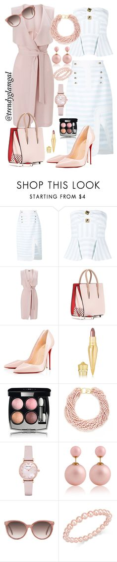 """""""Pink Duster Outfit"""" by trendyglamgal ❤ liked on Polyvore featuring Peter Pilotto, Miss Selfridge, Christian Louboutin, Chanel, Kenneth Jay Lane, Emporio Armani, Gucci and Charter Club"""