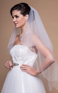 Gorgeous Two-tier Fingertip Wedding Veil With Beaded/Scallop... – USD $ 19.19
