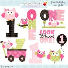 First Birthday Girl Owls 1st Birthday Owls, pink