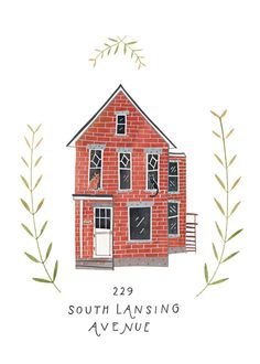 RESERVED for Amy F: Custom illustrated house portrait via Etsy