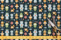 Robots Return Fabric by Dawn Jasper | Minted