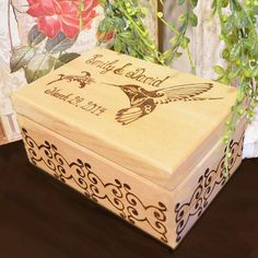 Personalized Wood Burned Box with Ornate by PaintBrushedBoutique