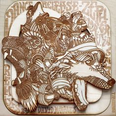 "The Art of Wood by Lucky ""Dubz"" Trifonas, via Behance Laser Cut Wood, Laser Cutting, Album Cover Design, Digital Fabrication, Elements Of Design, Layers Design, Wood Engraving, Graphic Illustration, Illustrations"