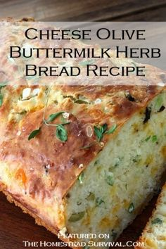Cheese, Olive and Buttermilk Herb Bread -- this looks wonderful for dipping in hearty fall soups!Queijo, Olive e Buttermilk Herb Bread - este parece maravilhoso para mergulhar em sopas queda saudáveis! Think Food, I Love Food, Good Food, Yummy Food, Fun Food, Tasty, Bread Machine Recipes, Bread Recipes, Cooking Recipes