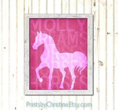 Personalized Horse Art Print Girls Room Dream Horses Pink Custom Colors. Customized Nursery Art Child. $19.00, via Etsy.