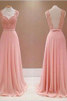 Pink Chiffon Prom Dresses, Lace Prom Dresses, Lace Prom Dresses, Custom Made Party Dresses 2017