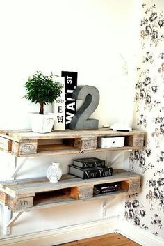 10 Ways to Upcycle Wooden Pallets by Jen Stanbrook Palet shelves. Nice way to hide a router The post 10 Ways to Upcycle Wooden Pallets by Jen Stanbrook appeared first on Pallet Ideas. Oak Furniture Land, Diy Pallet Furniture, Home Furniture, Furniture Ideas, Furniture Stores, Cheap Furniture, Garden Furniture, Unique Home Decor, Home Decor Items
