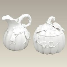 "Create a whimsical atmosphere with this pumpkin shape sugar & creamer set, 4.75"". The scalloped pumpkin shape is accented with hand applied vines and leaves and is exquisitely detailed. Microwave and"