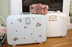 Painted Vintage Suitcases with Decals. from The Polka Dot Closet
