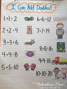 Doubles Addition Anchor Chart