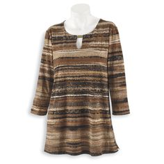Striped Keyhole Tunic - Women's Clothing – Casual, Comfortable & Colorful Styles – Plus Sizes