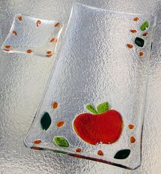 Fused Glass Apple and Honey or Caramel Dish. $50.00, via Etsy.