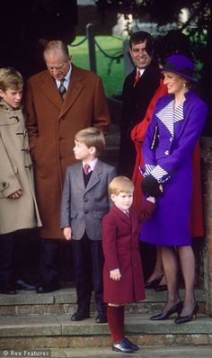 December 25, 1989: Princess Diana, Prince Charles, Princes William and Harry, Peter Phillips, Prince Phillip, William, Harry, the Duke of York at Sandringham Church for Christmas Day.