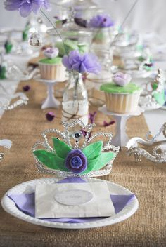 cute tablescape complete with tiaras for a princess party