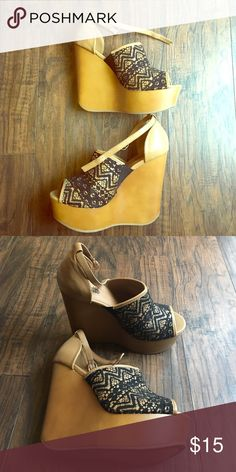 Wedges, never worn Black and camel wedges,black lace detail Charlotte Russe Shoes Wedges
